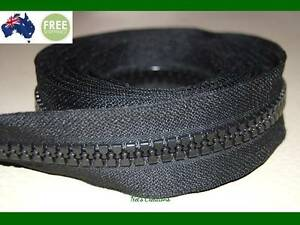 No 10, Black Heavy Duty Chunky Teeth Sewing on Tent, Open End Zip, 186cm &122cm