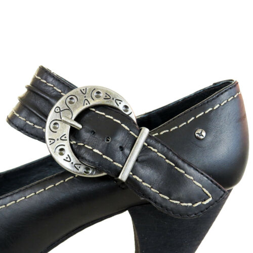 6 Pikolinos Buckle Shoes Leather Rrp Heels Court 5 Black Uk £65 5 Model donnas 7xqIF56