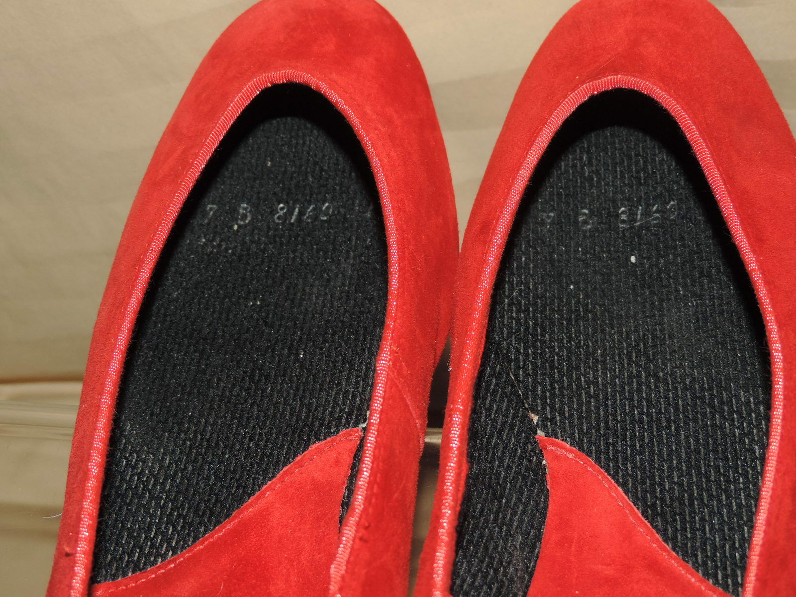 Lands End Women's 7 B Red Suede Leather Loafers Slip on Ballet Float Loafers Leather EC 2b6101