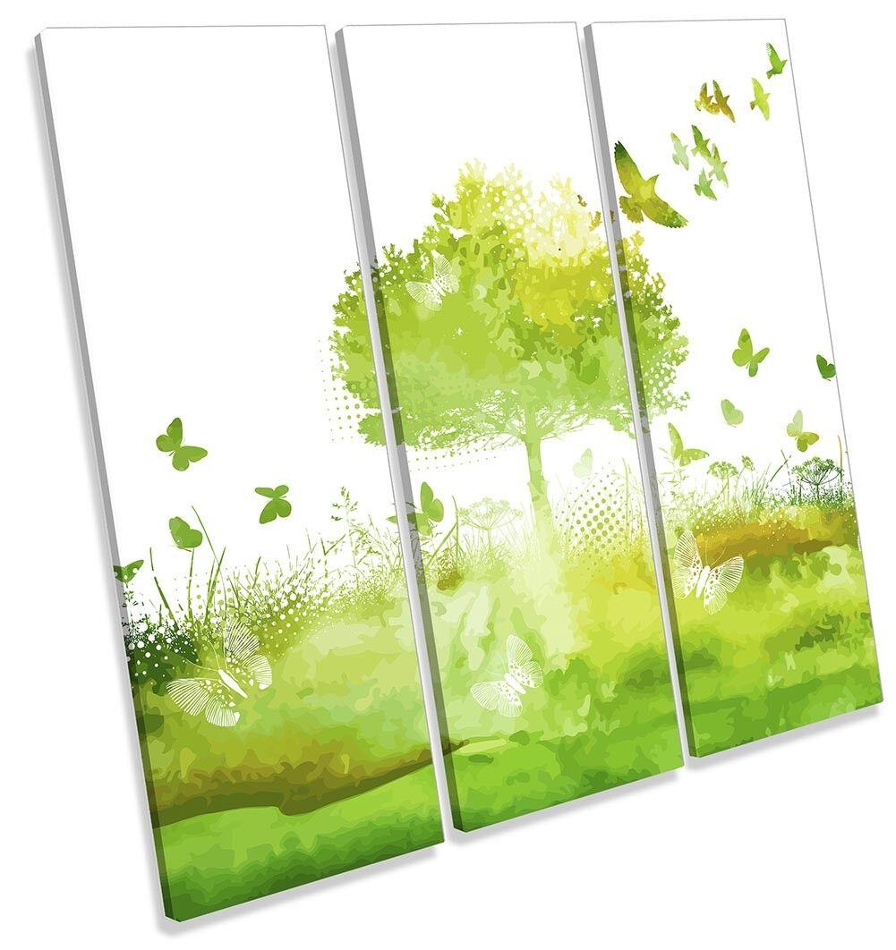 Grün Tree Birds Butterflies TREBLE CANVAS WALL ARTWORK Print Art
