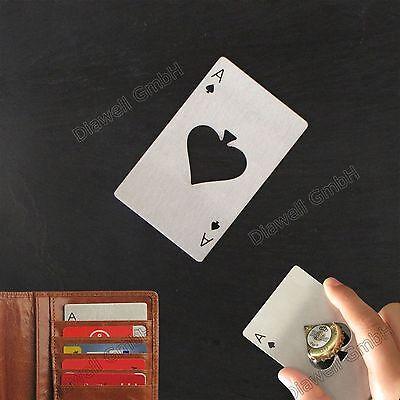 Flaschenöffner Kapselheber Edelstahl Flaschen Öffner Spielkarten Ass Poker Tropf-Trocken