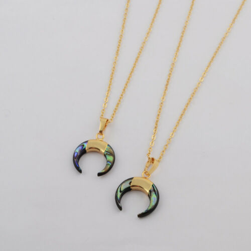 1Pcs Gold Plated Moon Horn Natural Abalone Shell Pendant Necklace Beach HG1768