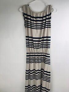 Garnet Hill Women's Jersey Tank Striped Navy Maxi Dress XS Stretchy waist Cinch
