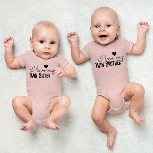 "JUNIWORDS Babybody Zwilling /""Sister//Brother/"" 100/% BW ver Farbe /& Größe Mädchen"