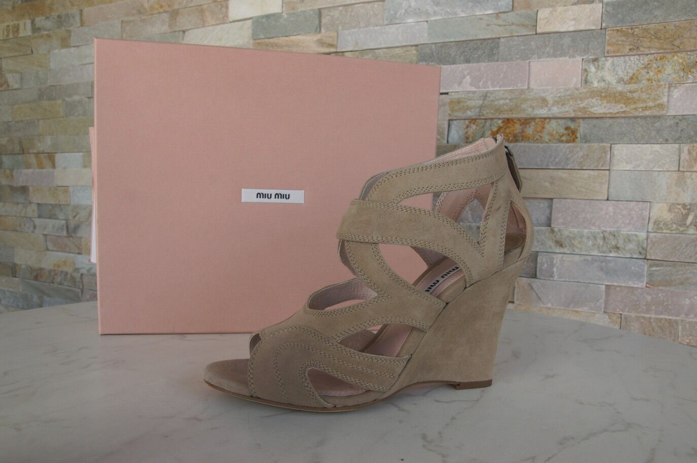 Mio Miu  Sz.40 Wedge Sandals Sandals scarpe Sand New Precedentemente  Negozio 2018