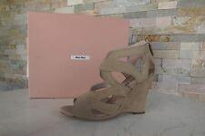 MIU MIU Gr 37 Keil Sandaletten sandals Wedges Schuhe shoes sand NEU UVP 660 €