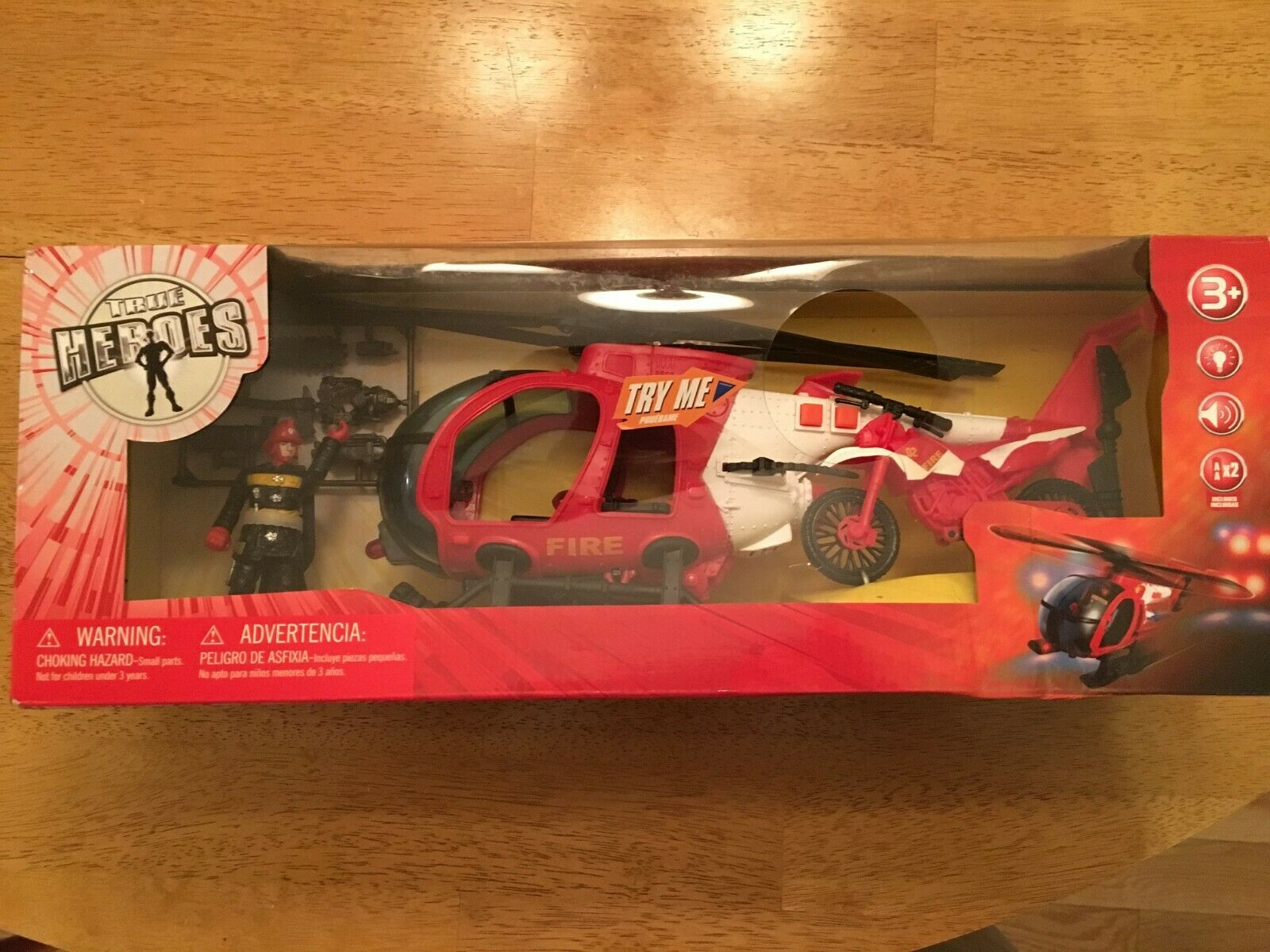 TRUE HEROES Rescue Patrol giocattoli R Us Helicopter e Motorcycle Playset nuovo RARE