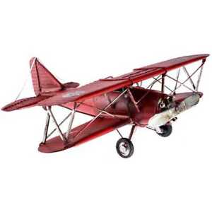 Details About Red Metal Bi Plane Airplane W Black Cross Rustic Vintage Style Aviation Decor
