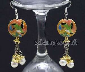 Big-18mm-Round-Pink-Cloisonne-amp-6-7mm-White-Natural-Pearl-Dangle-earring-ear526