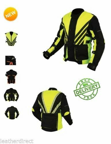 Pour Hommes Sport Haute Visibilité Textile Veste Moto Armé Imperméable Gilet De
