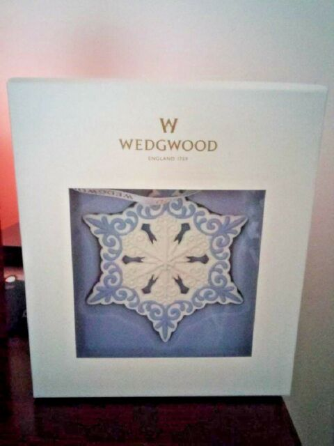 Pierced Snowflake Blue White Ornament Wedgwood Jasperware Holiday Collectible