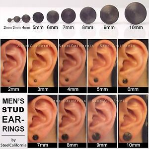 Image Is Loading Black Stud Earrings For Men Gold Plated