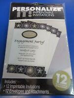 Glitter Starz Black Gold Stars Hollywood Theme Party Printable Invitations