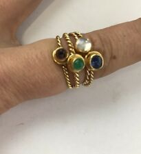 Vintage 18 K Gold Multi Stones Emerald Sapphire Stock Rings Set Of 4 Size 7.5