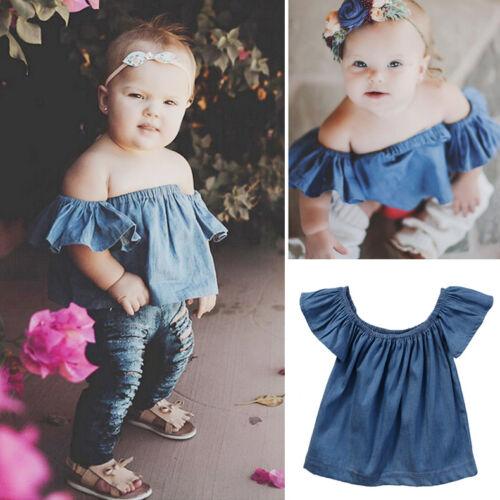 Toddler Baby Girls Kids Off-shoulder Clothes Demin T-Shirt Blouse Shirt Tops Tee