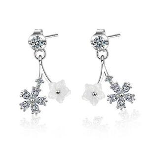 Fine-Exquisite-Solid-925-Sterling-Silver-Zircon-Shell-Flower-Stud-Drop-Earrings