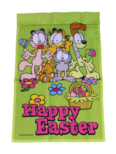 """GARFIELD HAPPY EASTER WITH GANG MINI FLAG 12/""""x18/"""" ~NEW"""