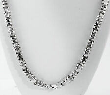 "106 gram 14k White Gold Men's Italian Bullet Semi Hollow Chain Necklace 30"" 9 mm"