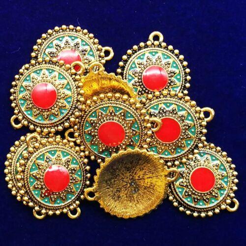 5Pcs Carved Tibétain Or Rond Fleur Pendentif Perles 21x4mm LL719-21
