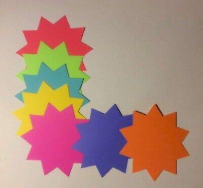 "3/""H x 3/""W Round 200pk Fluorescent Starburst Price Neon Retail Tags Cards Signs"