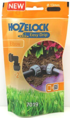 Hozelock Facile goutte à goutte coude Twin Pack connecteur 13 mm 7019 NEUF