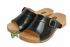Womens-Lady-Leather-Wood-Clogs-Sandals-Flip-Flop-Wood-Sole-Shoes-Size-3-8