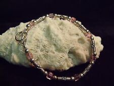 """VINTAGE STERLING INDONESIAN STYLE BEADS AND PINK CRYSTAL GLASS 7 1/2"""" BRACELET"""