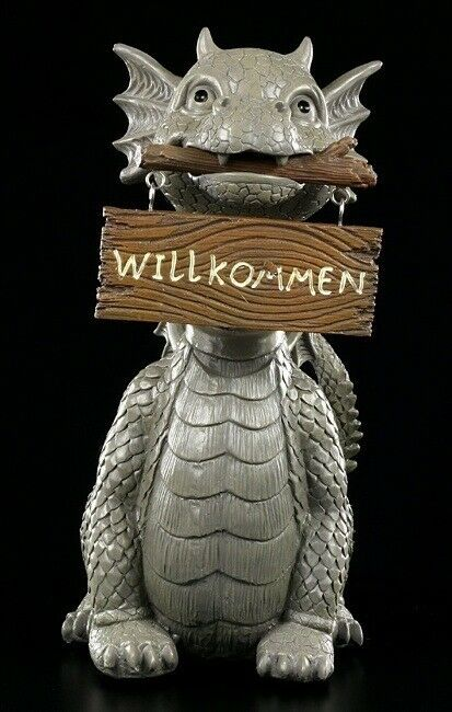 Personaggio da giardino-drago con wackelkopf E SCUDO-Gartendeko DRAGO BABY FANTASY