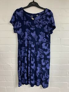 Ex Fat Face Navy Floral Butterfly Tunic Dress Size 16 (OR4.197)