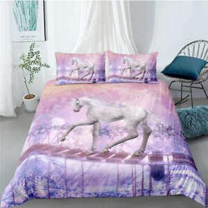 White-Horse-Across-The-Bridge-3D-Quilt-Duvet-Doona-Cover-Set-Pillow-case-Print