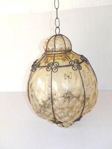 Lampada LUCERNA VENEZIANA in vetro Soffiato con gabietta in ferro AMBRA