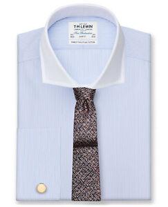 T-M-Lewin-Entallada-Azul-a-Rayas-Popelin-Corte-camisa-de-cuello-blanco