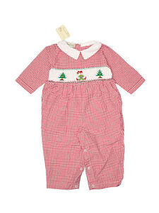 New Baby Boy Smocked Longall Christmas Elf Tree Red Gingham Outfit Size 9 Months