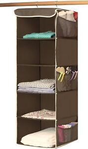 Image Is Loading 5 Shelves Hanging Closet Pockets Organizer Hangs On