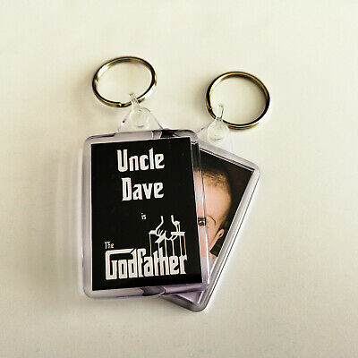 The Godfather funny personalised Godparents christening photo gift keyring