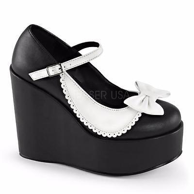 Demonia Poison-04 goth lolita black white platform mary jane shoes heels 6-11
