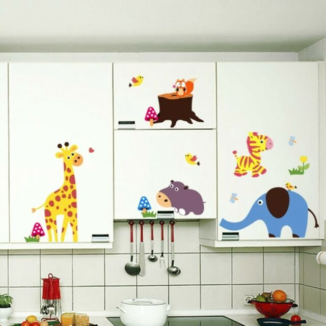 Large Jungle Safari animals Wall decals Removable sticker kids nursery decor
