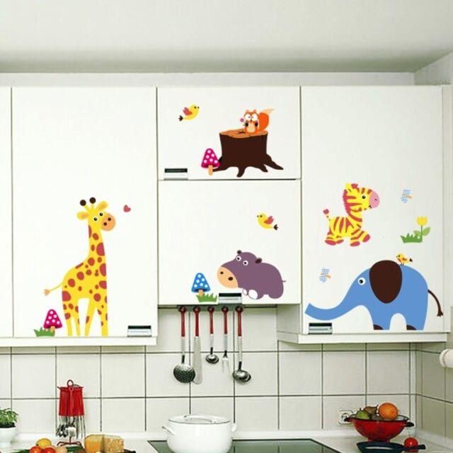 Large Jungle Safari animals Wall decals Removable sticker kids nursery decor