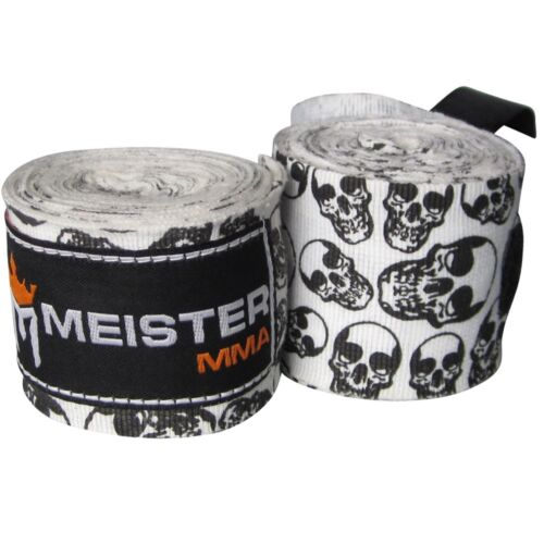 "DEATH SKULLS 180/"" ELASTIC HAND WRAPS Meister MMA Cotton Boxing Wraps Mexican NEW"