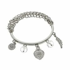 JUICY COUTURE silver tone Dome, Heart & Wing Charm Stretch Bracelet NEW