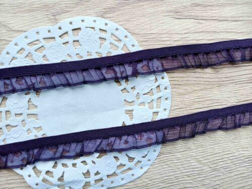 2 lfM Gummiband Rüschengummi elastisches Rüschenband Organza Dekoband Lila