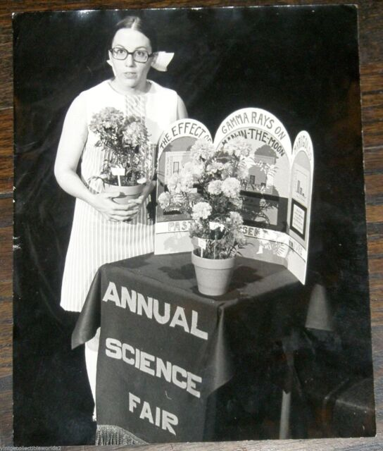 Oddball Funny Old Photograph of Nerdy Teenage Girl Science Fair