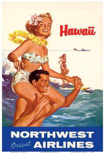 Northwest Orient Airlines HAWAII Surf 1960s Vintage Travel Poster Print