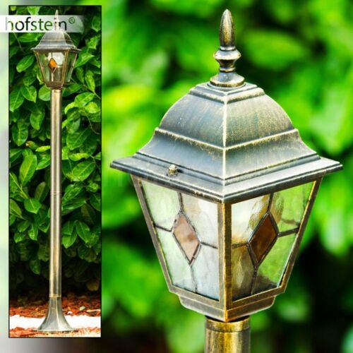Wegeleuchte Aussen Steh Leuchte braun Gold Wege Lampen Garten Pollerleuchte Glas