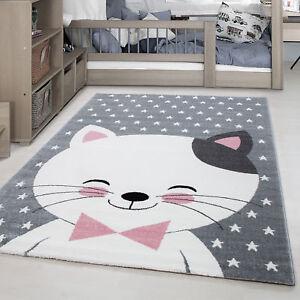 Details zu Kinderteppich Süße Katze Muster Schleife Punkte Kinderzimmer  Pink Grau Weiß