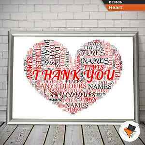 personalised thank you word art for christmas present birthday