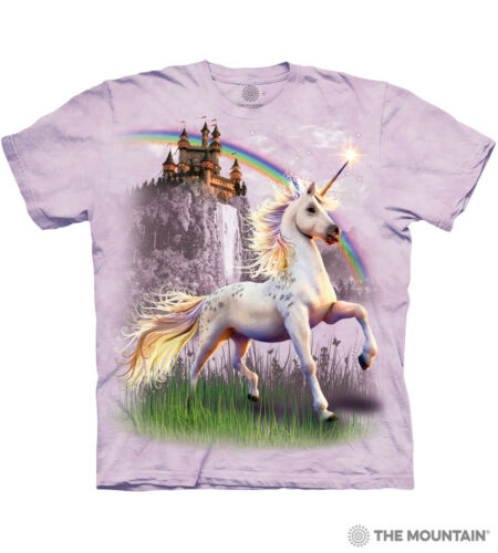 The Mountain 100/% Cotton Kids T-Shirt Tee Unicorn Castle S-M-L Made in USA NWT