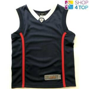 low priced e1284 db943 Details about NIKE BASKETBALL T-SHIRT ELITE BLUE AND RED KIDS JERSEY  SLEEVELESS OFFICIAL NEW