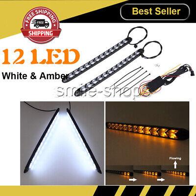 2Pcs 12 LED Knight Rider Strip Light White//Amber Arrow Flasher DRL Turn Signal