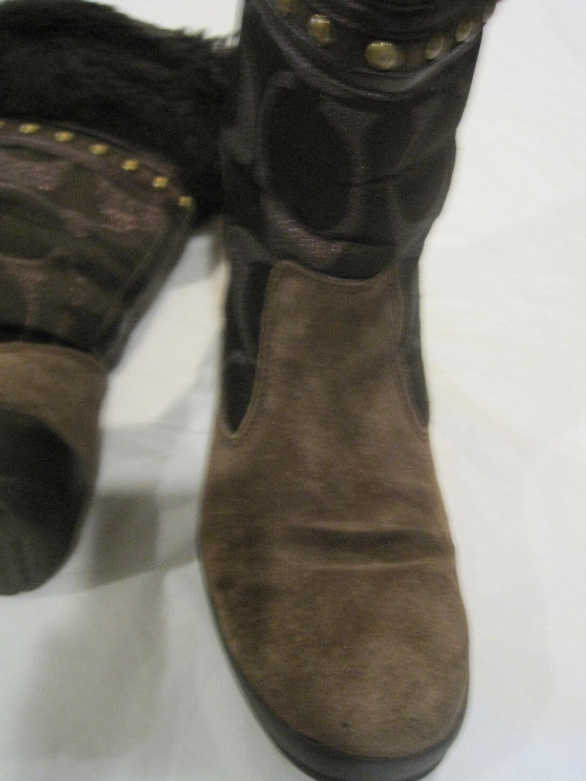 Entrenador Lesly marrón botas piel  firma y gamuza con ribete de piel botas A7092  Talla 7 1 2 M  lbdln a72218